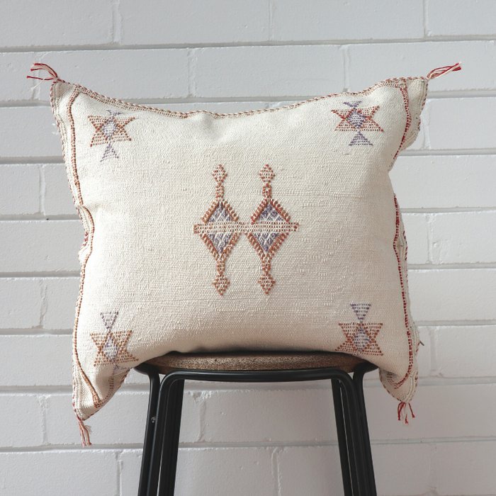 Cactus Silk Feather Filled Cushion - White with Tan and  Dark Blue Berber Motifs