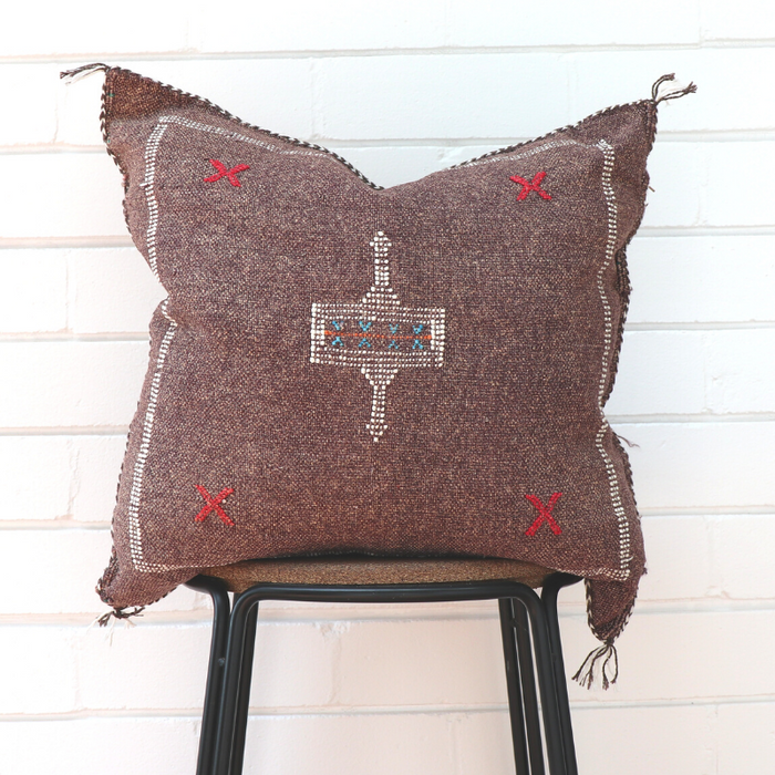 Cactus Silk Feather Filled Cushion - Worn Brown with White, Blue & Bright Red Berber Motifs