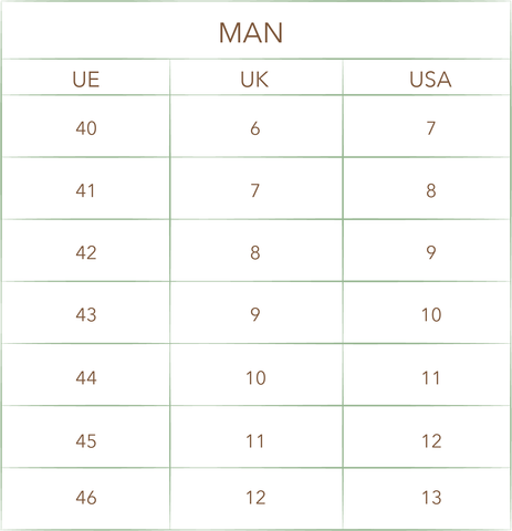 International size guide MAN WOMAN UE UK USA