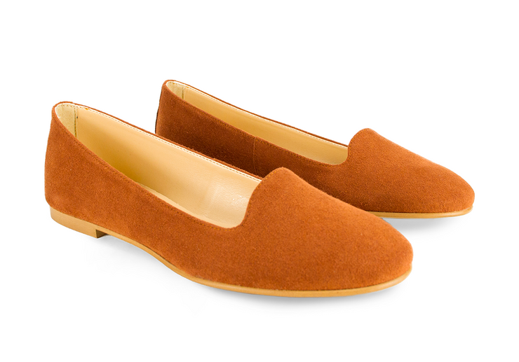 Fera libens shoes woman collection vegan eco friendly animal free ballerina loafer vesta russet