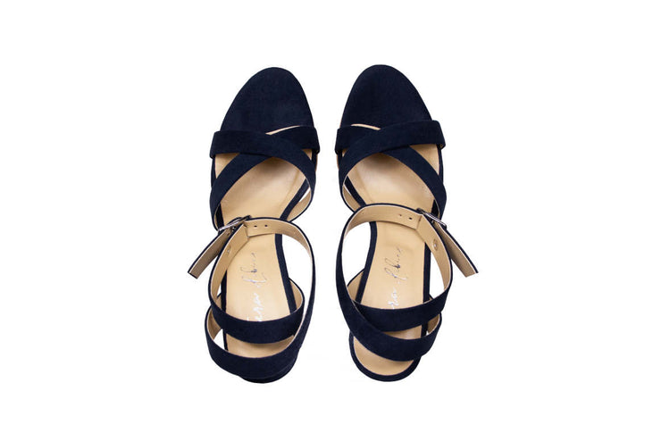 Fera Libens women's collection vegan sandals animal free heeled sandals calliope prussian blue