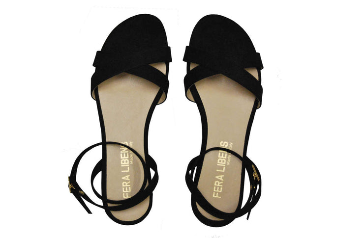 Fera Libens women's collection vegan sandals animal free flat sandals Clio black