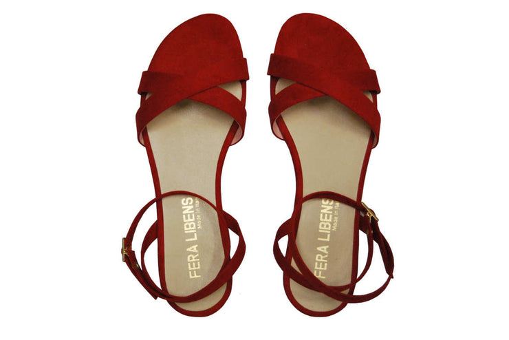 Fera Libens women's collection vegan sandals animal free flat sandals Clio coral red