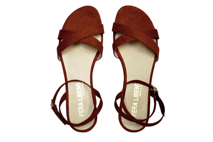 Fera Libens women's collection vegan sandals animal free flat sandals Clio russet
