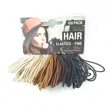 Fine Hair Elastics 100pcs Browns/Black
