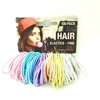 Fine Hair Elastics 100 pcs Pinks