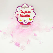 Hair Elastic with Organza Star - Pack of 2 Pink/White