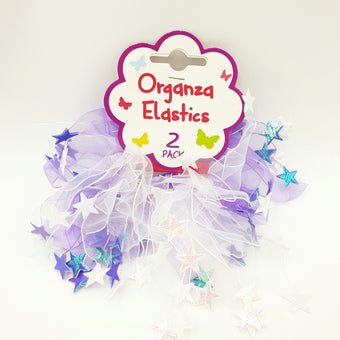 Hair Elastic with Organza Star - Pack of 2 Purple/White