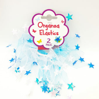 Hair Elastic with Organza Star - Pack of 2 Blue/White