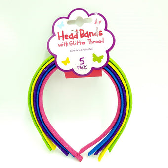 Sparkle Headbands Coloured 5 Pk