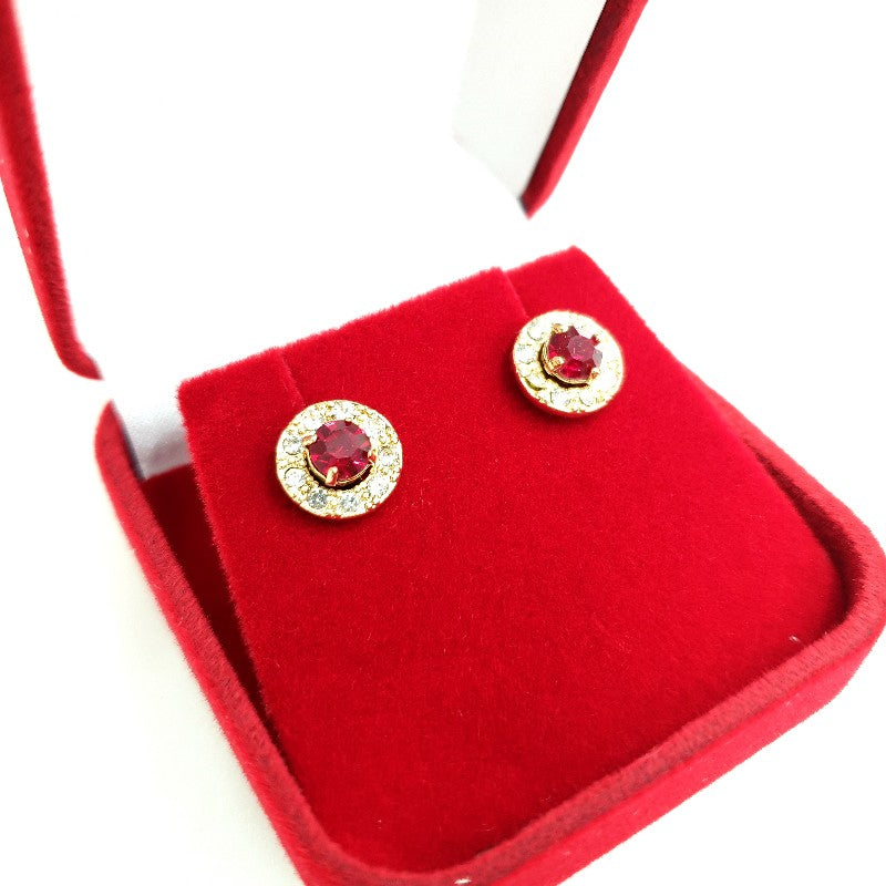 Avon Regal Red Ruby Earrings 40th Anniversary