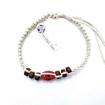 Tribal Ban Beaded Twine Anklet/Bracelet Red