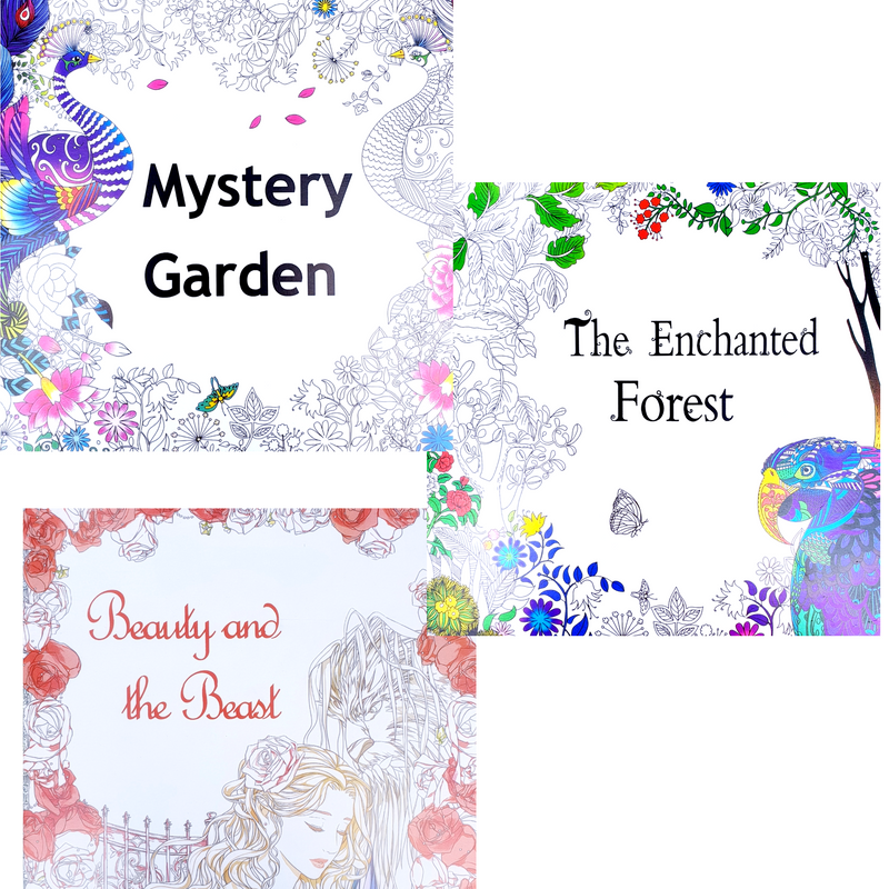 Enchanted  Forest Mystery Garden & Beauty & Beast Colouring Book Gift Set