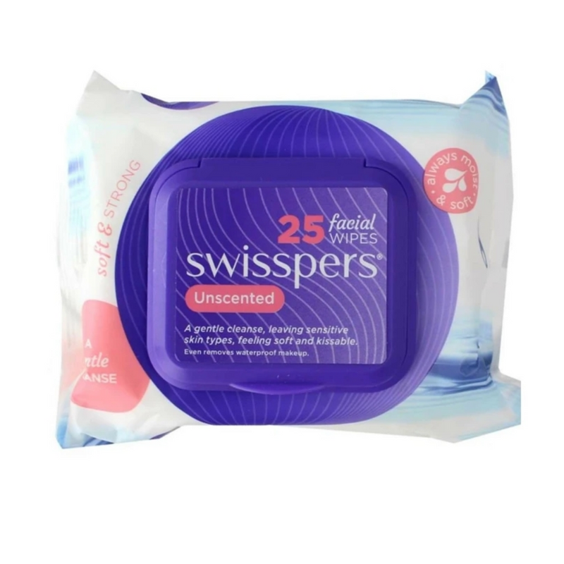 Swisspers x25 Facial Wipes Soft & Strong Unsented