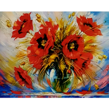 Paint Theropy Paint By Numbers Art Set Poppy In Vase