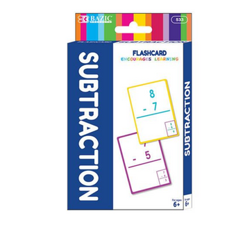 Bazic Subtraction Preschool Flash Card Pack Set of 36