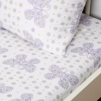 Living Textiles 100% Cotton Fitted Sheet & Pillow Case Purple Butterfly