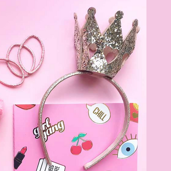 Scunci Crown Glitter Headband Pink