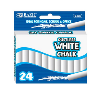 Bazic Dustless Chalk x 24pk