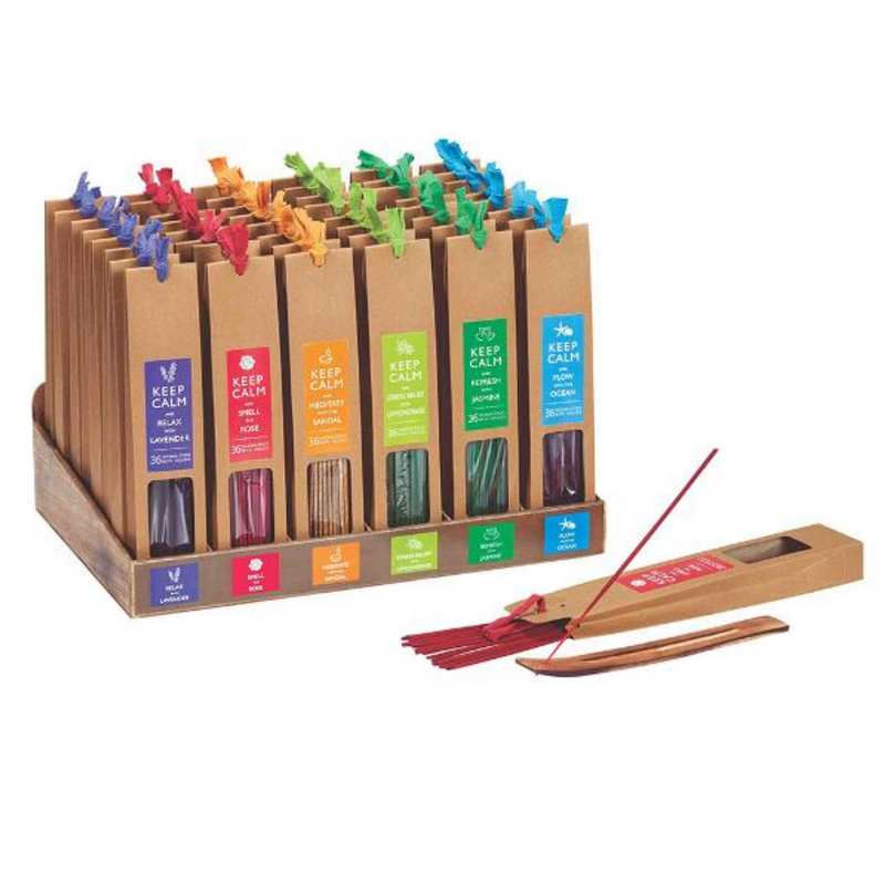 Keep Calm Stress Relief Incense 36 sticks + Holder - Lemongrass