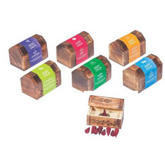 Keep Calm Wood Incense Cone Wooden Box + 10 Cones - Jasmine