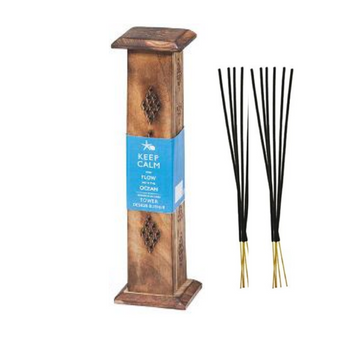 Keep Calm Wood Incense Tower with 10 sticks - Ocean