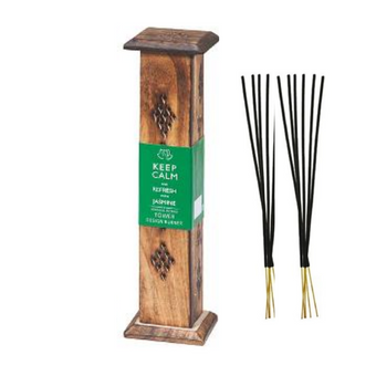 Keep Calm Wood Incense Tower with 10 sticks - Jasmine