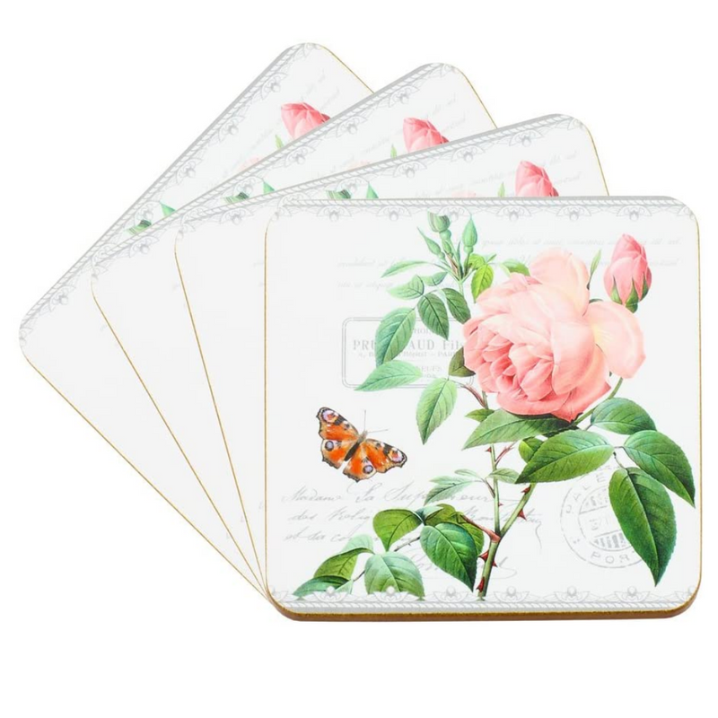The Leonardo Collection Redoute Rose Set of 4 Coasters