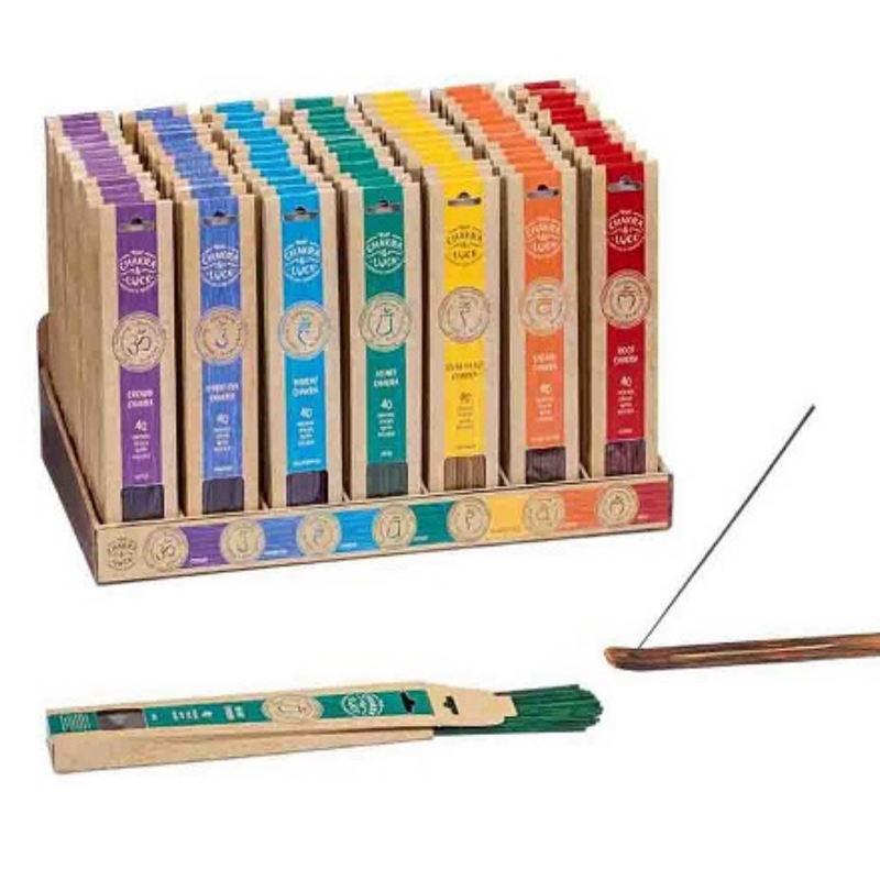 Chakra & Luck Incense 40 Sticks + Wooden Holder Root Cedar