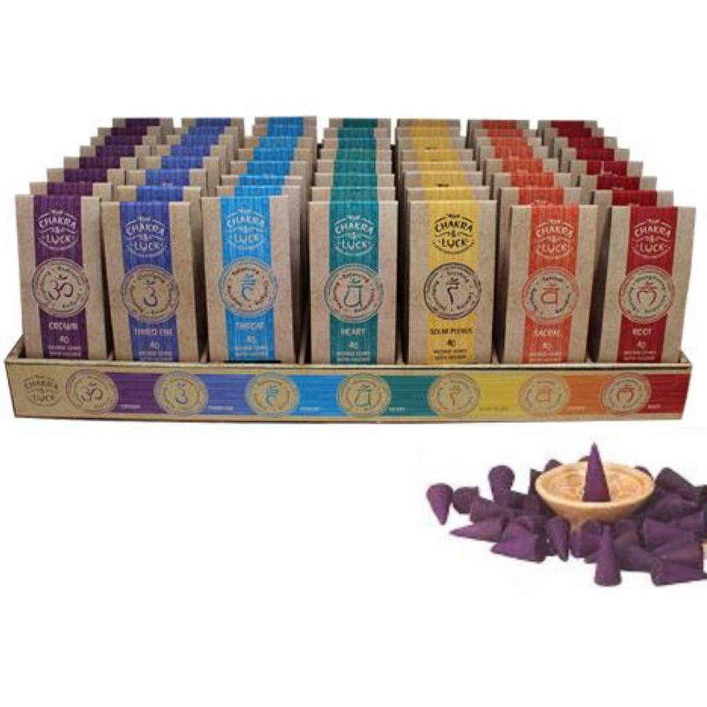 Chakra & Luck Incense 40 Cones + Wooden Holder Heart - Rose