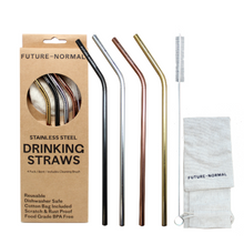 Future Normal Stainless Steel Drinking Straws Bent 4 Pack