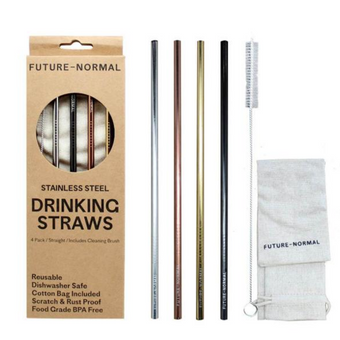 Future Normal Stainless Steel Drinking Straws Straight 4 Pack