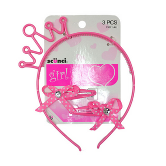 Scunci Girls Headband & Clippies Pink