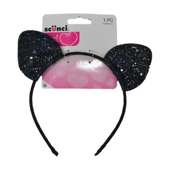 Scunci Cat Glitter Headband Black