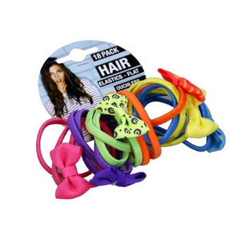Hair Elastic With Bows 18PK