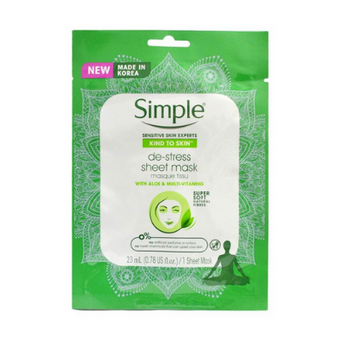 Simple Sheet Mask De-Stress With Aloe & Multi Vitamins x 10