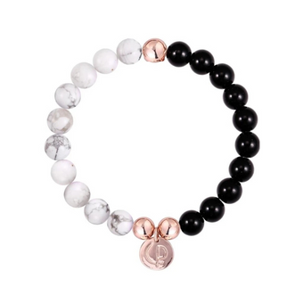 Christian Paul Howlite & Onyx Rose Gold Bracelet Small
