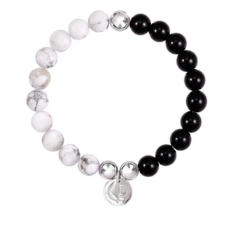 Christian Paul Howlite & Black Onyx Silver Bracelet Small