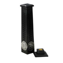 Triple Moon Om Timber Incense Tower Black & Incense