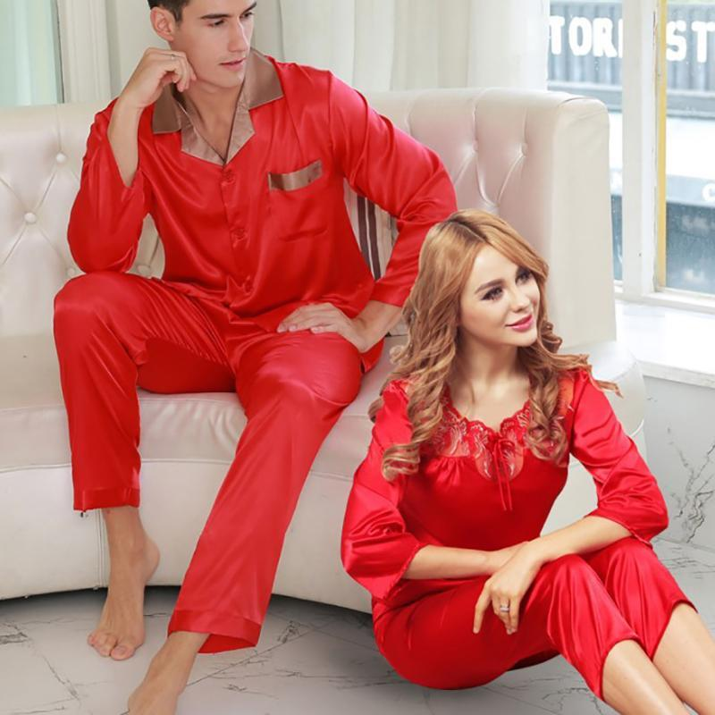 f33a2f608f Load image into Gallery viewer, Spring And Autumn Silk Comfort Couple  Pajamas Set ...
