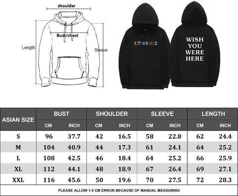2d90b1c3d03d Please refer to the following Adult Size chart in order to make sure you  order the right size for your hoodies.