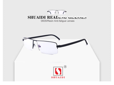 Black Metal Frame Resin Lenses Anti-fatigue Reading Glasses Male Reader Sunglasses