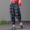 Women Harem Pants Elastic Waist Palid Check Drawstring Baggy Loose Retro Pockets Pantalon Pencil Trousers