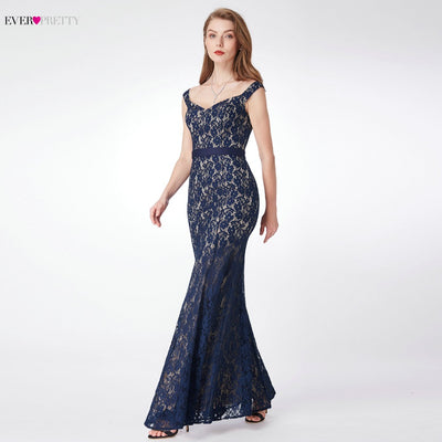 Lace Evening Dresses Long Ever Pretty EP07278 Women's 2018 Navy Blue Long Elegant Sleeveless Vintage  Formal Dresses vestidos