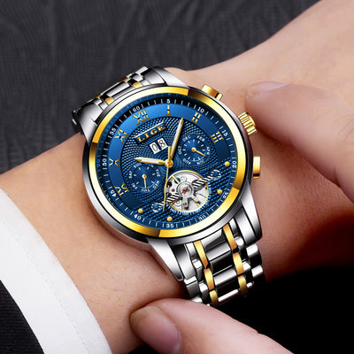 Mens Watches Top Brand Business Fashion Automatic Mechanical Watch Men Full Steel Sports Waterproof Watch Relogio Masculino