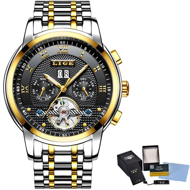 beb6e7bb22c Mens Watches Top Brand Business Fashion Automatic Mechanical Watch Men Full  Steel Sports Waterproof Watch Relogio