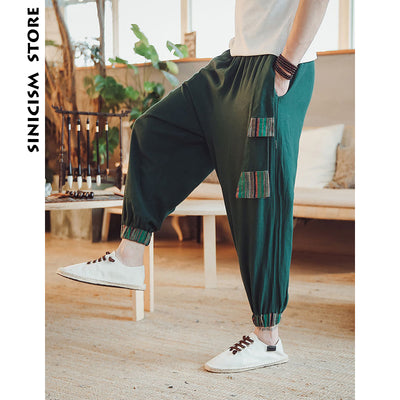 Harem Pants Mens Summer Male Casual Jogger Pants Patchwork Baggy Loose Pants Trousers Cotton