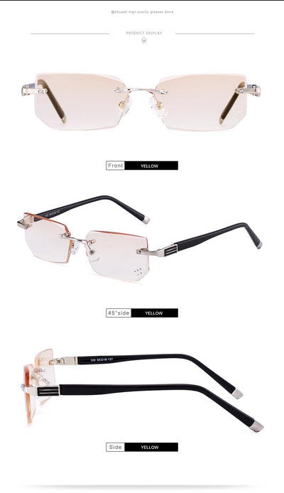 Glasses Lens Anti-Blue Ray Fashionable Ultralight Rimless Reading Computer Glasses