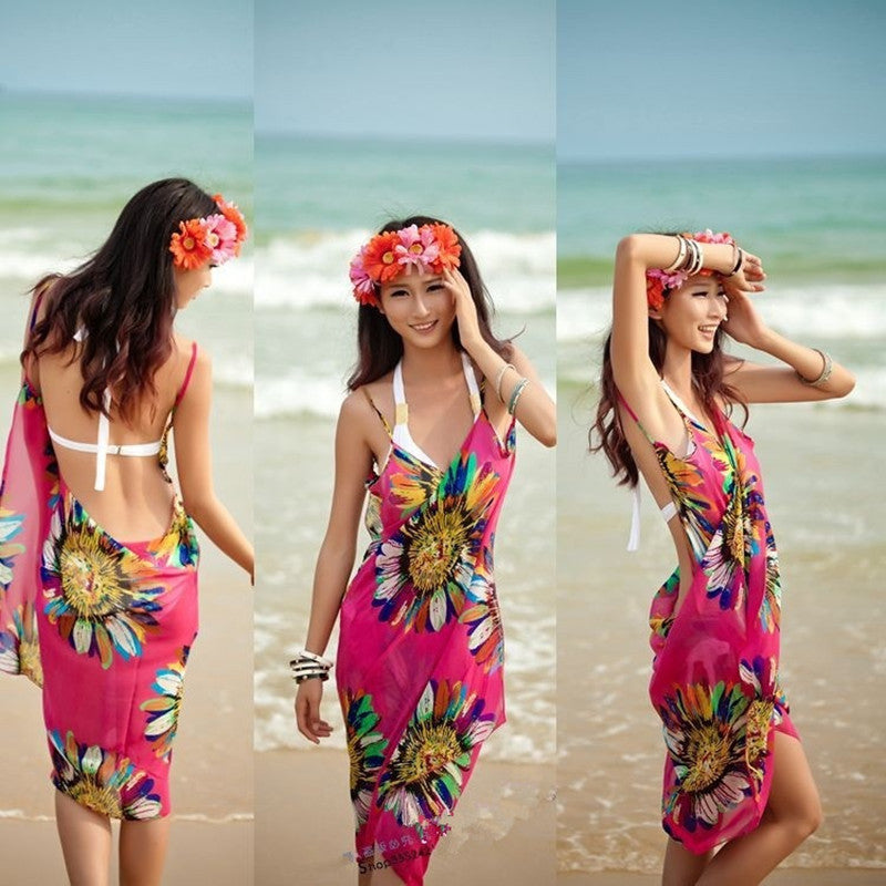 732ec7914e12 Sexy Beach Dresses Swim Women 2018 White Chiffon Beach Tunic Backless Long Dress  Women Cover Up