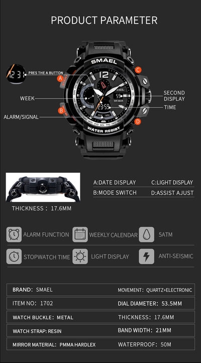 Shock Resistant Men Sport Watches Military Army Watch Waterproof Digital Clock Men Watch
